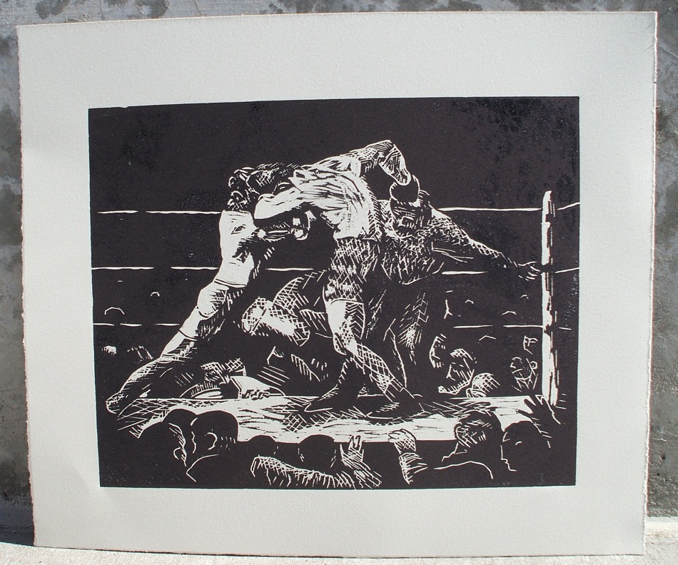 "relief print of ""A Stag at Sharkeys"""