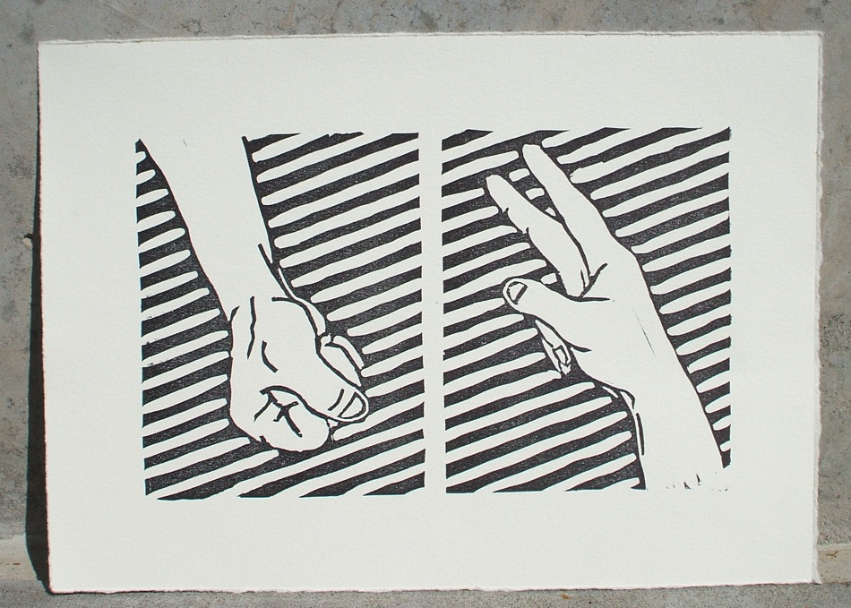 rock beats scissors relief print